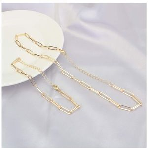 Paperclip Gold Chain Link Necklace & Brace…
